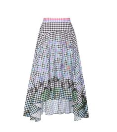 Peter Pilotto - Gingham cotton skirt - Indulge in bold print with Peter Pilotto's gingham skirt, designed in collaboration with artist Francis Upritchard. Crafted from cotton, this style features a classic monochromatic gingham print overlaid with contrasting colourful squares. The overall effect is eye-catching when paired with the flattering high waist and high-low hemline. Wear yours out with the designer's matching top. seen @ www.mytheresa.com