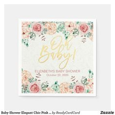 Baby Shower Elegant Chic Pink Watercolor Floral Paper Napkins