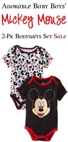 Disney Baby Mickey Mouse 2-Pk Bodysuits Set Sale: $7.99! #babies #thefrugalgirls