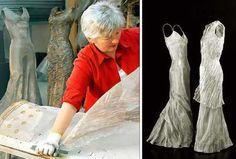 Anna Eggert at work using stainless steel woven mesh