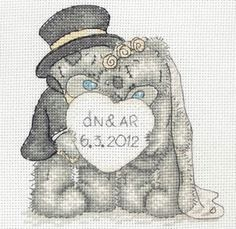 Love Celebration Tatty Teddy Kit from Anchor £18.25 - Past Impressions.   Wedding Samplers make wonderful gifts for the big day, and this lovely Tatty Teddy design is no exception.