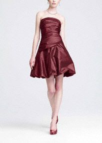 Short and sassy, this strapless taffeta dress is perfect for your bridesmaids on your special day!  Strapless bodice features eye-catching ruching creating a flattering silhouette.  Short bubble skirt is chic and on trend.  Fully lined. Back zip. Imported polyester. Dry clean.  Sizes and colors may have limited availability and may vary by store. (plum)