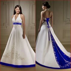 2014 Classic Style Strapless Satin Embroidery Royal Blue and White Wedding Dresses $105~$199
