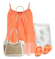 """""""Orange Swing Tank"""" by daiscat ❤ liked on Polyvore featuring Chiemsee, maurices, Kelly & Katie and C. Wonder"""
