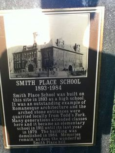 Plaque that adorns Smith Place Hill