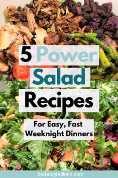 5 ideas on how to make tasty, healthy, filling power salad recipes for dinner every night. The ultimate time saver for never-boring salads. Clean Eating Diet Plan, Healthy Eating Habits, Clean Eating Recipes, Healthy Living, Salad Recipes For Dinner, Dinner Salads, Easy Healthy Dinners, Easy Healthy Recipes, Healthy Food