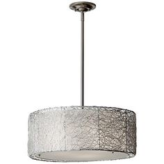"""Feiss Wired 19 3/4"""" Wide Brushed Steel Pendant Light"""