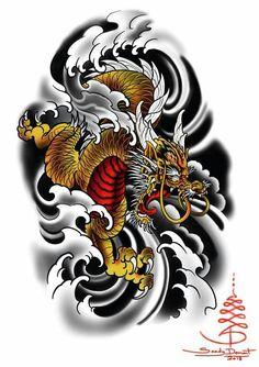 Flash dispo by contacter nous via notre site pour vos rdv 🤘🏻 Dragon Koi Tattoo Design, Dragon Tattoo Sketch, Japan Tattoo Design, Japanese Tattoo Art, Japanese Tattoo Designs, Japanese Sleeve Tattoos, Small Dragon Tattoos, Chinese Dragon Tattoos, Totenkopf Tattoos
