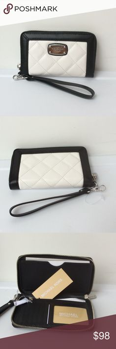 "NWT🔶Michael Kors Quilt Lg MF Wallet /Phone Case So versatile... this chic multifunction piece is designed in ""White"" quilted leather trimmed in ""Black"" leather with silver tone hardware. 2 full length zipper and slip compartments. 6 credit card  slots. Detachable wristlet strap... Just grab and go! Michael Kors Bags Wallets"