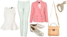 basic look - white peplum shirt with pastels