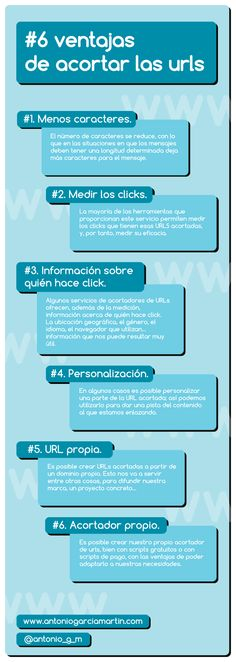 Ventajas de acortar las URL #infografia #infographic #internet