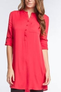 Roll-Up Sleeves Button Down Tunic Top