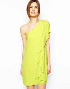 Lime off the shoulder dress. Need this for summer wedding season!
