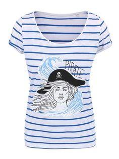 ZOOT Originál - Modro-bílé dámské pruhované tričko Pirátka - 1 bf4efbb521