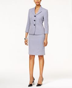 Elevate your workday in this chic two-toned jacquard skirt suit by Le Suit. | Polyester; lining: polyester | Dry clean | Imported | Jacket: stand up shawl collar, three button closures, three-quarter-
