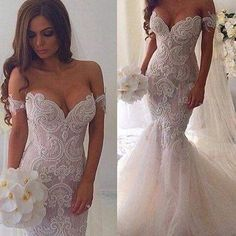 Pearl Beaded Lace Mermaid Wedding Dresses Off The Shoulder