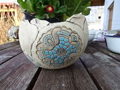 Gartenkugeln & -stelen - Keramik Pflanzkugel Blumentopf Keramiktopf türkis - ein Designerstück von KeramikSchneider bei DaWanda