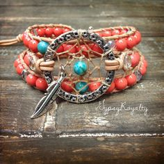 Bohemian Turquoise Jasper Gemstone Beaded Wrap Bracelet Coral Beaded Natural Leather Cord Stackable Boho Gypsy Free People Style 3x Wrap