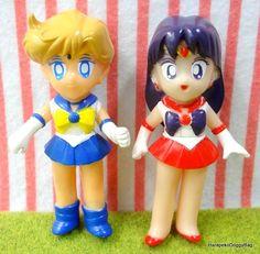 1990s : Japanese Anime / Shojo Manga : Bandai Gashapon Toys : Sailor Moon Super S : Plastic Toy Figures : Sailor Uranus & Sailor Mars