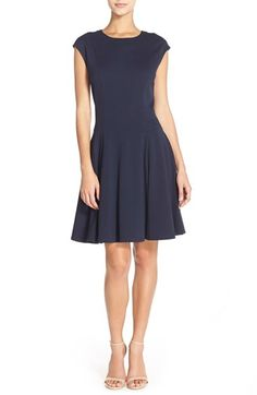 Eliza J Cap Sleeve Ponte Fit & Flare Dress (Regular & Petite) available at #Nordstrom