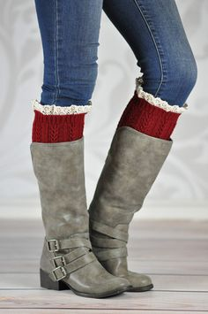RED WINE BRAIDED BOOT CUFFS The fantastic pattern that associates to a braid in columns across these boot cuffs with a graceful touch of a scalloped lace, makes this hand crafted product stand out while peeking through your boot adding the perfect warmth and style on a windy fall day. It can be worn with almost any boot style and even with slouchy ankle boots.