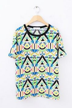 Multicolor Geometry Graphic Tee OASAP.com