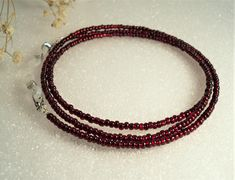 Cranberry Red Beaded Eyeglass Strap Glasses Cord Holder
