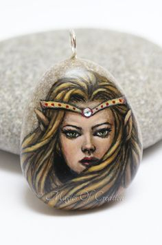Elf queen, original painting on stone pendant by Magics of Creation #painted #stone #pendant