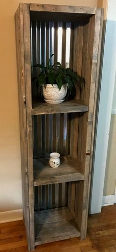 $595 · Bring a farmhouse look into your room with this unique wooden shelving. This piece has a gray rustic finish with a tin backing. This piece is great for bathroom shelving, decor items in living areas, or even a bookcase. This piece is about 21.5 x 14 x 72 inches it is solid wood besides the tin backing. Shipping Info We offer free shipping for all NC and SC orders and offer shipping options within the United States. If you are located outside of NC or SC please send us a messag..