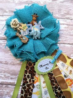 rustic blue burlap safari animal mommy to be corsage burlap theme baby shower its a boy baby shower corsage safari theme corsage