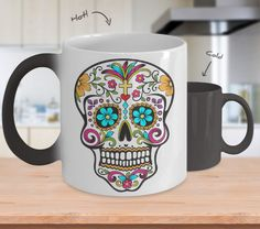 Day of the Dead Mug - Sugar Skull Magical Color Changing Mug - Mexican Folk Art - Dia De Los Muertos Coffee Cup