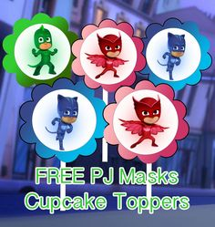 Scallop Topper PDF File HERE PJ Masks Cupcake Toppers PDF File HERE Banner HERE Happy Birthday Banner PDF Fil...