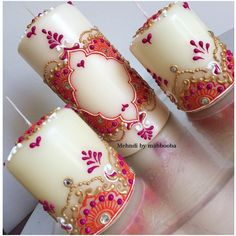 Try These Easy Decorating Tips When Working with Candles Henna Candles, Diy Candles, Candle Art, Diy Wedding Decorations, Henna Art, Candle Making, Henna Designs, Mehndi, Decorating Tips