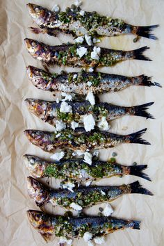 Grilled Sardines with Feta and Salmoriglio Tasty Fish Recipe, Whole Fish Recipes, Grilled Sardines, Good Enough To Eat, Fish Design, Fish Dishes, Soul Food, Seafood Recipes, Feta