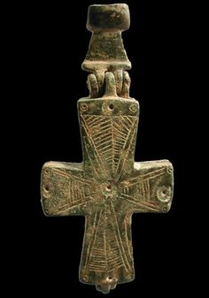 Complete Reliquary Cross with Christ or Incised Saint