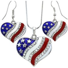 USA American Flag Heart Patriotic 4th of July Independence Day Pendant... ($14) ❤ liked on Polyvore featuring jewelry, heart jewelry, heart shaped pendant necklace, heart pendant necklace, american flag jewelry and heart jewellery