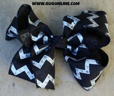 Black and Silver Glitter Chevron Hairbow www.gugonline.com $12.95