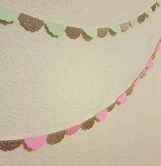 Custom Scallop Circle Paper Glitter Garland- Wedding Decor, Bachelorette Party, Hen Party, Bridal Shower, Photo Backdrop, Nursery Decor