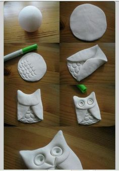 Diy clay owl uil van brooddeeg