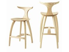 Meridian Barstool at Thos Moser  David Moser's acute sense for aesthetic details are found in the fine radius of the Meridian Stool's underside, the inverse matched radius at the top of the leg, and the optical correction effect at the termination of the stool's crest.