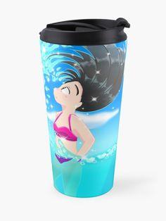 'Beach Splash' Travel Mug by konapple Mug Designs, Iphone Wallet, Sell Your Art, Floor Pillows, Travel Mug, Mugs, Beach, Shop, Prints
