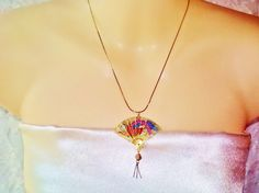 Gold Chinese Asian Fan Pendant Necklace by NaturesUniqueBotique