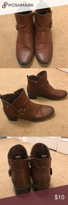 Brown Booties Used well and has wear to them. Very comfortable. Dana Buchman Shoes Ankle Boots & Booties