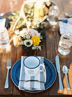 Enamelware place settings at your rustic camp wedding will leave guests thinking their meal came right off the camp fire. Wedding Mugs, Wedding Favors, Wedding Venues, Wedding Decorations, Wedding Ideas, Wedding Story, Wedding Things, Wedding Reception, Campground Wedding