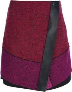 Black, red and pink wool blend skirt from Proenza Schouler