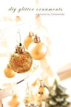 DIY Glitter Ornaments and Tea Lights