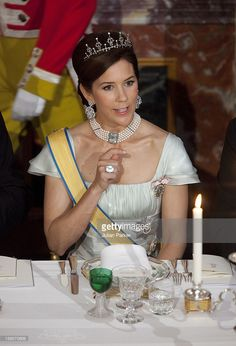 On His State Visit To Denmark, President Of Greece, Dr. Kaolos Papoulias, And His Wife Mrs May Papoulia Attend The State Banquet At Fredensborg Palace With Crown Prince Frederik And Crown Princess Mary (Pictured) Of Denmark. (Photo by Julian Parker/UK Press via Getty Images)