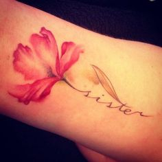 A Piece of Red Flower On Arm. More