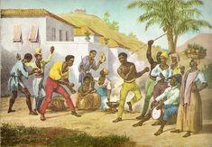 """""""Jogar Capoeira / Danse de Guerre"""", do alemão Rugendas, que viajou pelo Brasil de 1822 a 1825. Veja mais em: http://semioticas1.blogspot.com.br/2011/08/tem-sambafoto-dos-bambas-cascata-donga.html"""