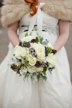 Winter Bouquet, love grey berries & pine cones keeping it natural.